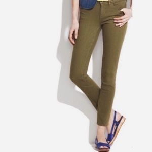 J Crew toothpick ankle jeans in olive khaki green